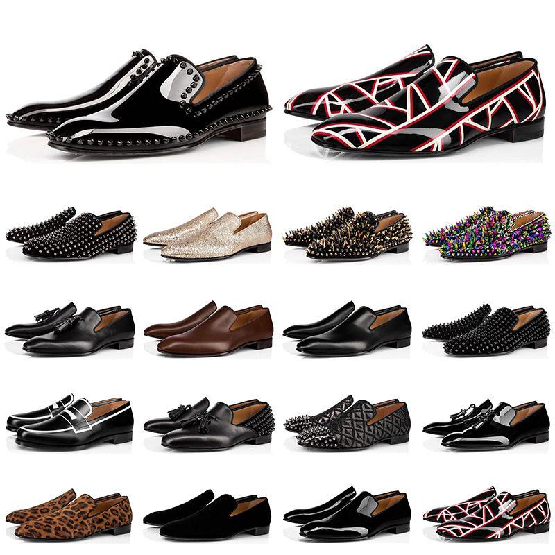 2020 red bottoms shoes Hot fashion designer zapatos para hombre mocasines black red spike Charol Slip On Dress Pisos de boda fondos Zapato para fiesta de negocios