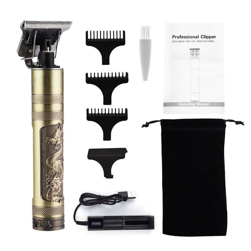 USB Şarj edilebilir Seramik Saç Kesme Barber Şarjlı Sakal Giyotin Erkekler kıvrık Saç kesimi Tıraş T-bıçak Saç Kesme Makinesi 50