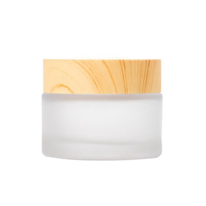 2020 verre givré bouteilles de crème pot ronde cosmétique Pots Bouteilles d'emballage visage main 10g 15g 30g 5 g 50 g jarres bois Couverture
