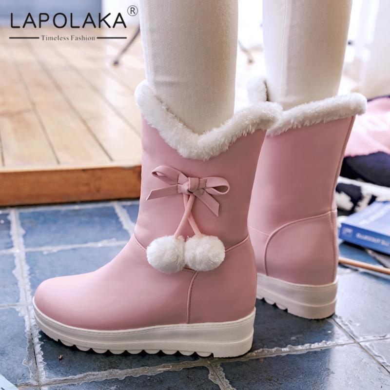 Lapolaka 2020 Nouveau mode Comfy Bottes neige Chaussures Femme Plate-forme courte en peluche Polaires hauteur croissante Doux Bowtie Bottes Femme