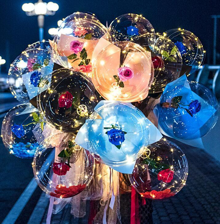 LED Ballon de rose Lumineux Bouquet de rose Lumière transparente Boule Boule Valentines Valentines Cadeau Anniversaire fête de mariage GGA3845