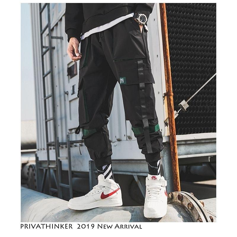 Privathinker Men Hip Hop Belt Pantalones de carga Hombre Patchwork Monos Overlaje Japonés Streetwear Joggers Pantalones Hombres diseñador Harem Pants 201116