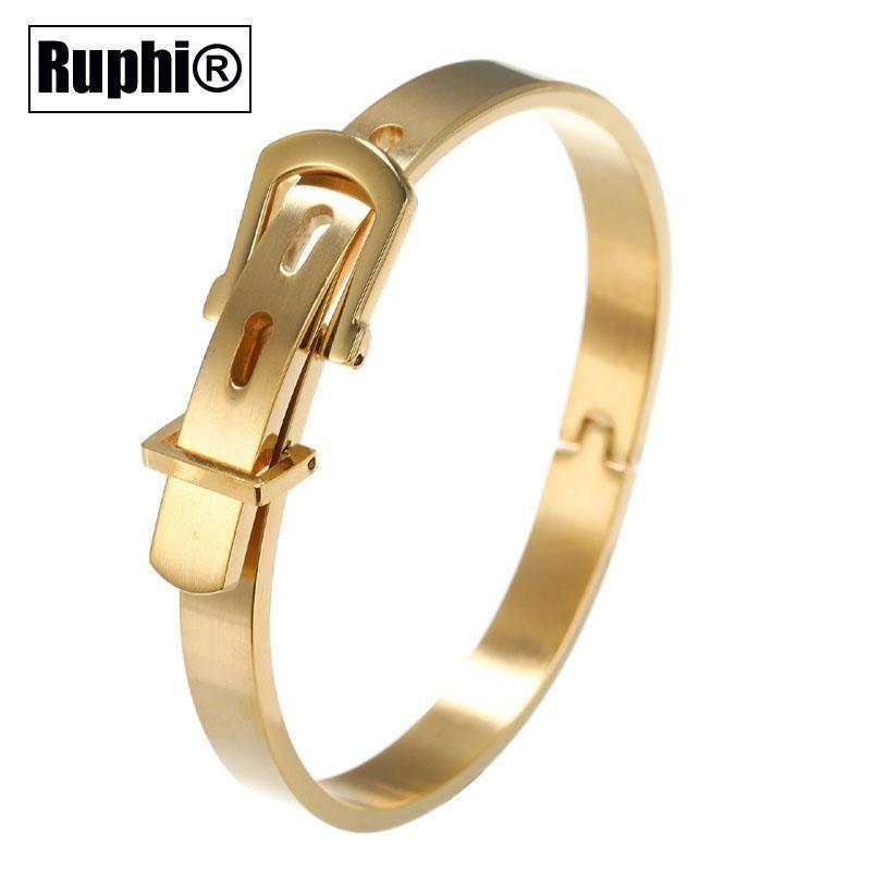 Hebilla del cinturón Diseño 316 pulseras de acero inoxidable para las mujeres de moda del ornamento de la joyería de 4 colores opcionales