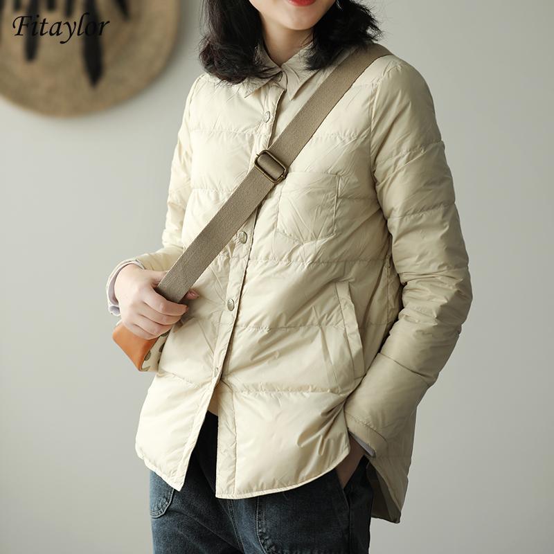 Mulheres para baixo parkas fitaylor outono mulheres mulheres virar casaco de gola ultra luz 90% branco pato jaqueta Único Único à prova de vento