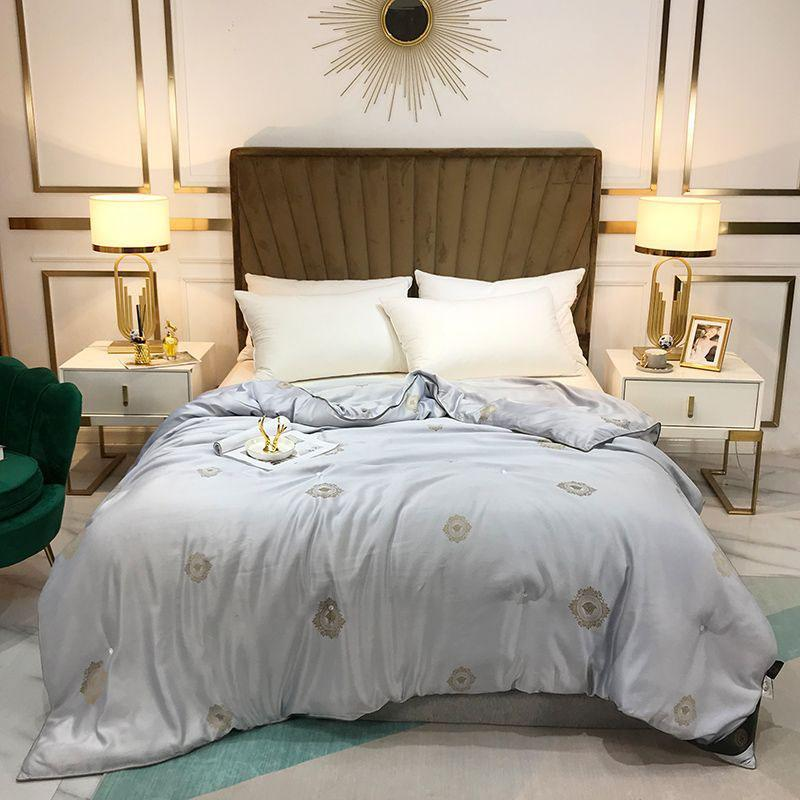 Luxury Letter Cotton Quilted Comforter Bedding Air Condition Quilt Throw Blanket Four Seasons Warm Quilt Core