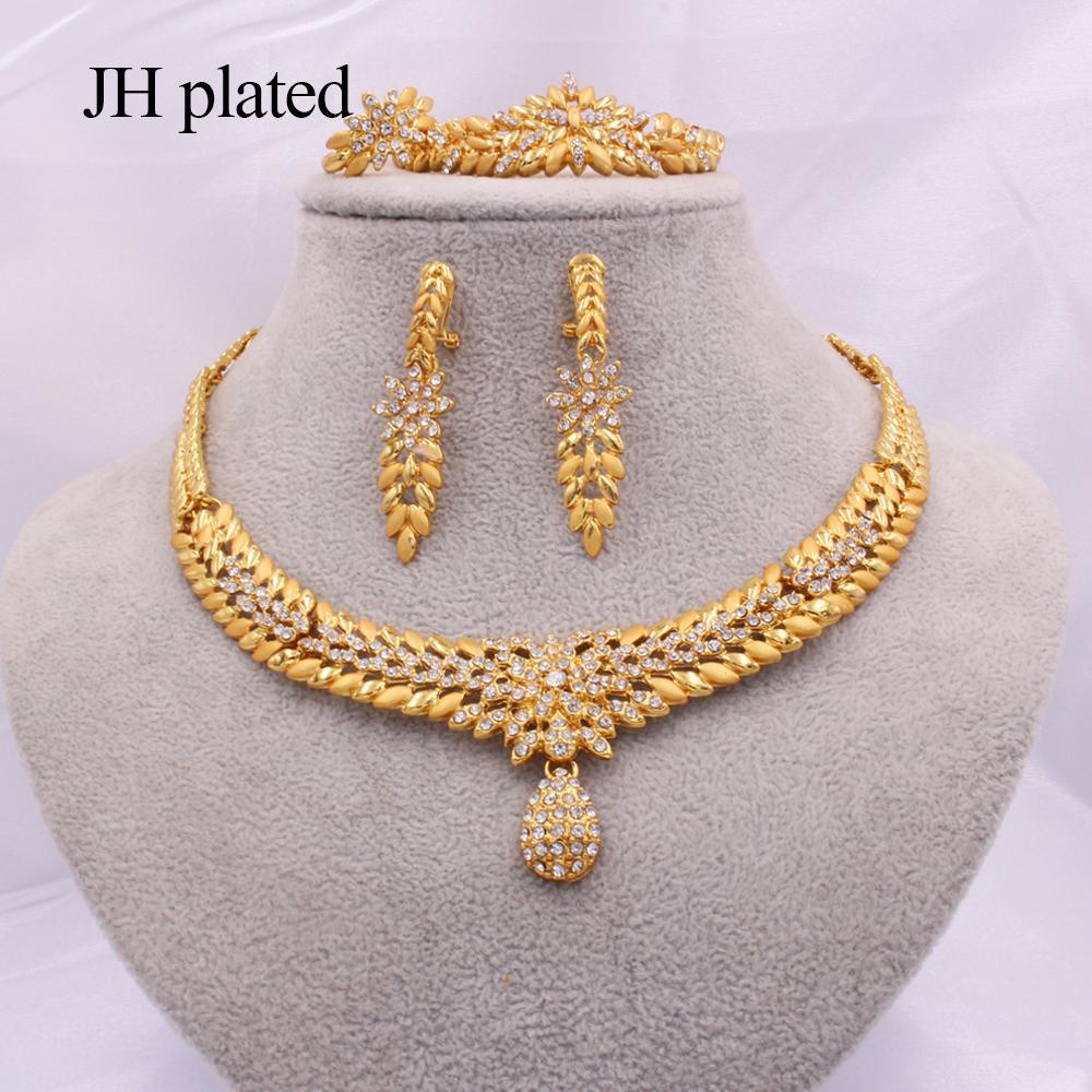 Schmucksets für Frauen Dubai 24K Gold Farbe Indien Nigeria Hochzeit Geschenke Halskette Ohrringe Armband Ring Set Äthiopien Schmuck 201130
