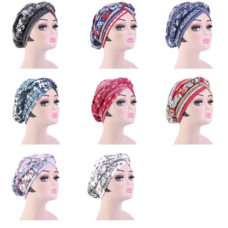 여성 헤어 액세서리 두건 캡을위한 새로운 매듭 매듭 레이디 머리 스카프 히잡 보헤미아 스타일 여성 터번 모자 이슬람 내부 히잡