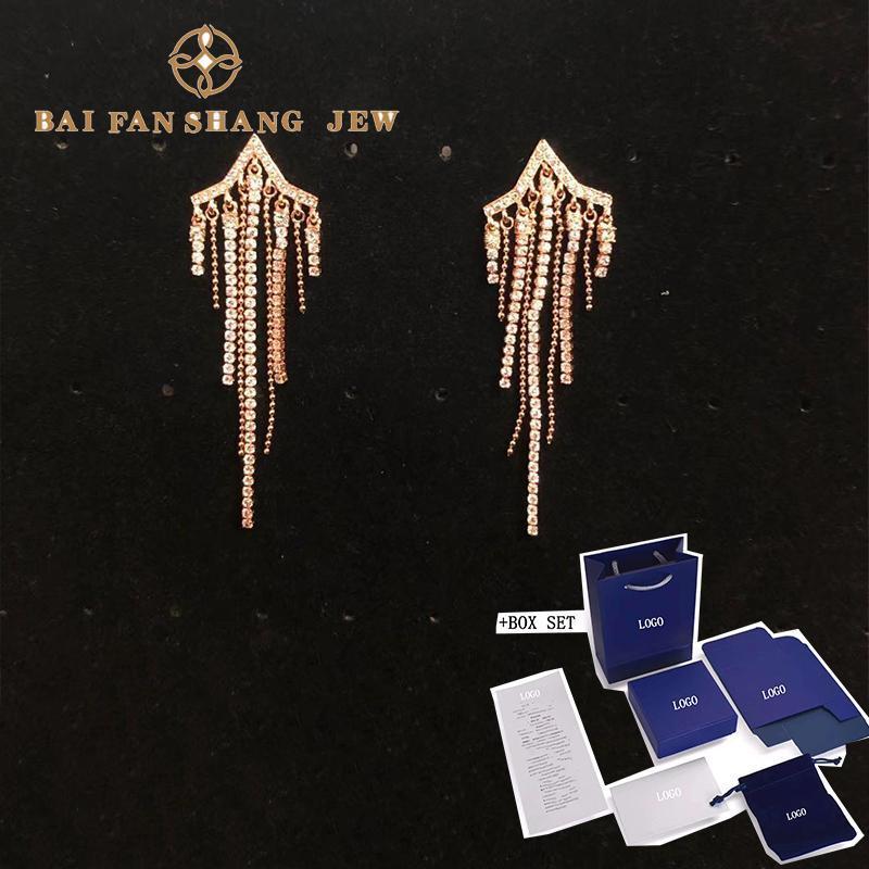 Stud 2021 Fashion Jewelry SWA FIT STAR Perforierte Troddel-Ohrringe Zarte Kugelkette Dekoration Dame romantische Geschenk