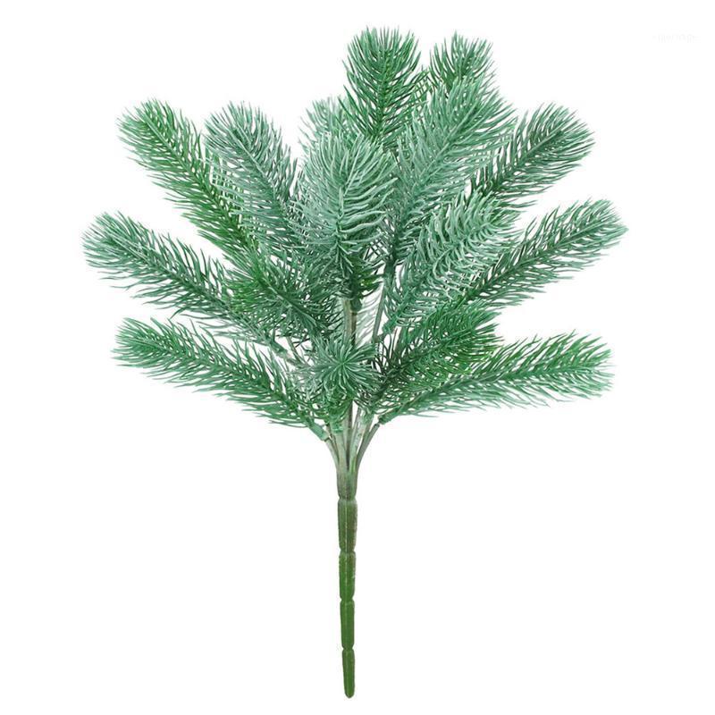 NUEVO 6 Tenedor Needas de pino de Navidad Verde Plantas artificiales verdes Props de fotos Planta Material de pared Decoración de boda Flower Flower Verde Hojas1
