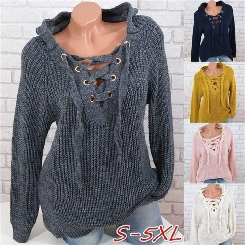 Women's Sweaters Autumn Pullover Bandage Sexy V-neck Women's Top Cross Strap Large Size Lace-up Sweater 201128
