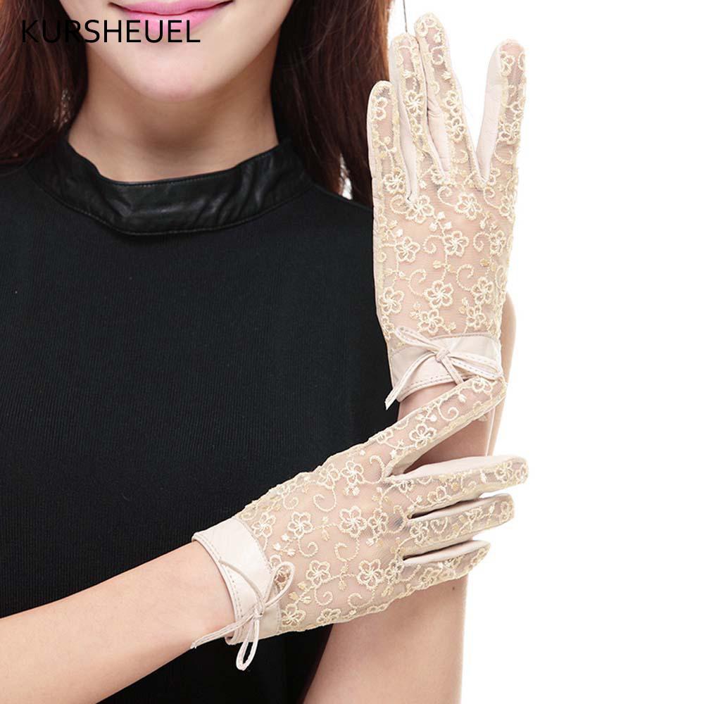 Frauen arbeiten Leder Spitzen Handschuhe Sommer Anti-uv echter Schaffell Lederhandschuhe Dame-Mädchen-elegante Handschuhe Driving AGB558 201020