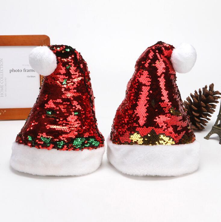 Weihnachten Red Sequin Hüte Pom Pom Plüsch Caps Xams Luminous Weihnachtsmütze Erwachsene Pailletten Hut Innenweihnachtsdekoration Partybedarf AHF2242
