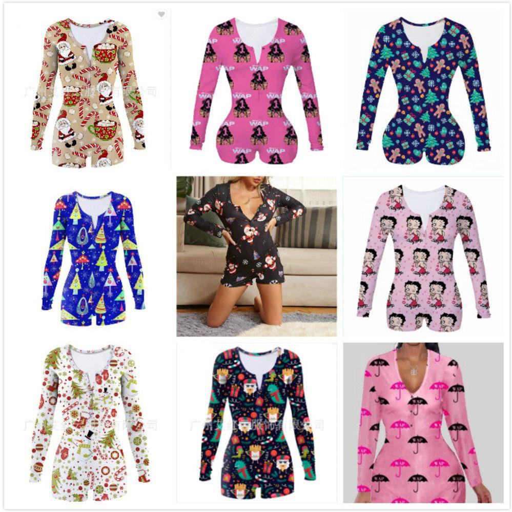 Mulheres Jumpsuit Magro Sexy Halloween Moda Wear Início de Natal Impresso V-pescoço das senhoras New macacãozinho apertados 2020