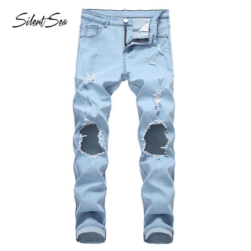 Мужские джинсы силцеи мужские белья гип-хоп Biker Skinny Punk Light Blue мотоцикл Slim Fit Джинсовые брюки дыры Большой размер