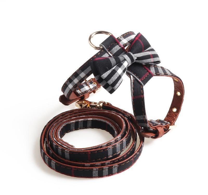 Coleira e guia conjunto Harness Bow em forma de K Designer Pet Dog Acessórios britânica estilo multi-cor ajustável Tamanho Moda DogGq Pet