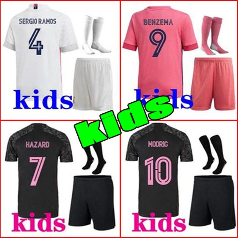 20 21 Реал Мадрид Футбол Футбол Детей домой Третий Футбольный комплект Опасность Zidane Benzema Футбольная рубашка CamiSeta de Futbol Men Kids Наборы + Носки