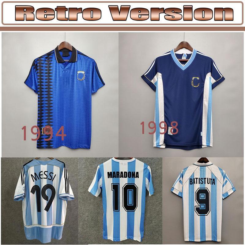 1978 Argentina Kempes Mens Soccer Jerseys 1986 National Team Retro Maradona 1998 Batistuta Zanetti 2006 Messi Riquelme Casa Camicie da calcio