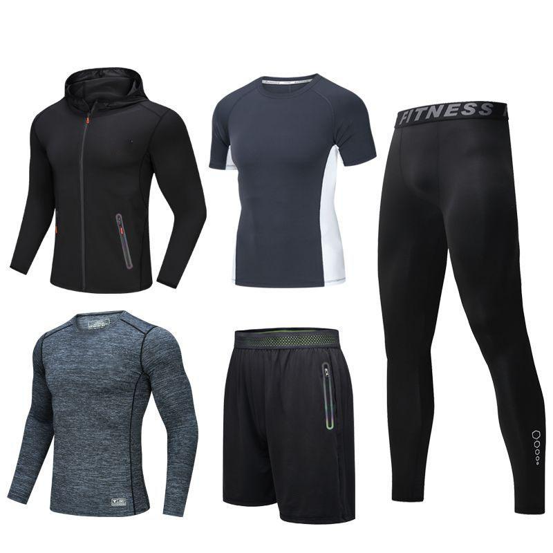 2021 tuta sportiva da uomo per esterno pantaloni a maniche corte a maniche corte rapido tuta da corsa palestra cappotto sottile basket tuta a cinque pezzi