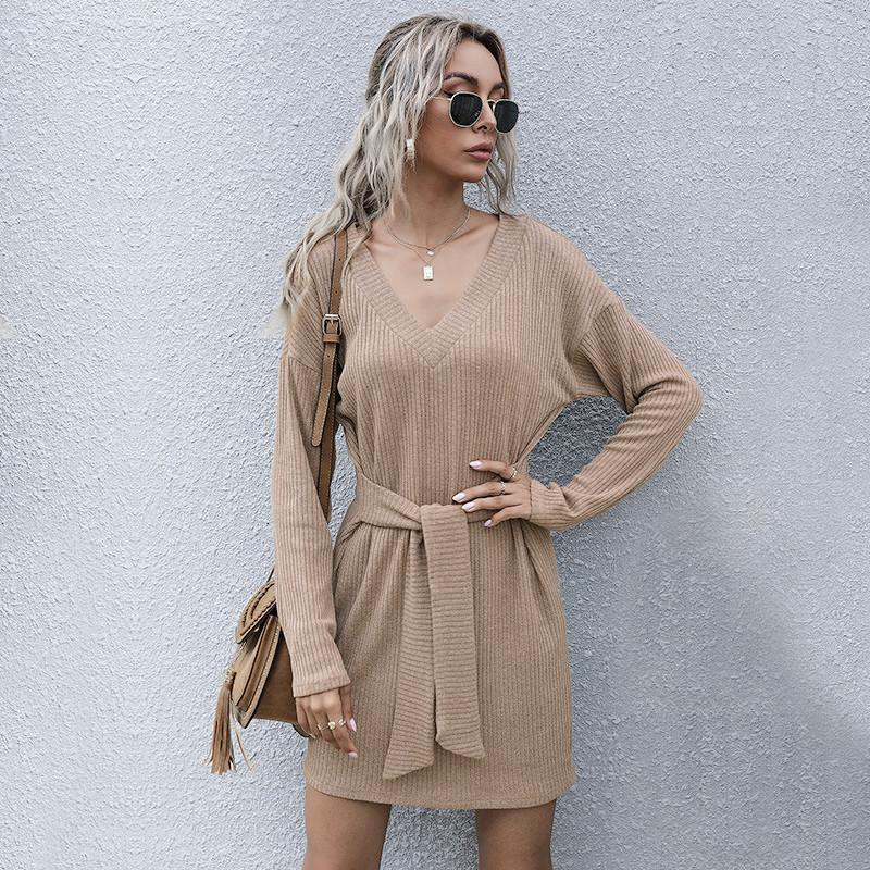 Abito da maglione a maglia a maglia in linea francese elegante Elegante Neck Impero Signore Abiti da donna Casual Manica Full Abiti Mini Bow Bandage Dress