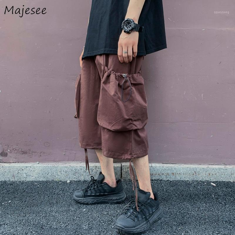 Men Shorts Multi-Pocket Cargo Harem Trousers Leisure Baggy Ulzzang 3XL Chic All-match Solid Japanese Style Streetwear Short New1