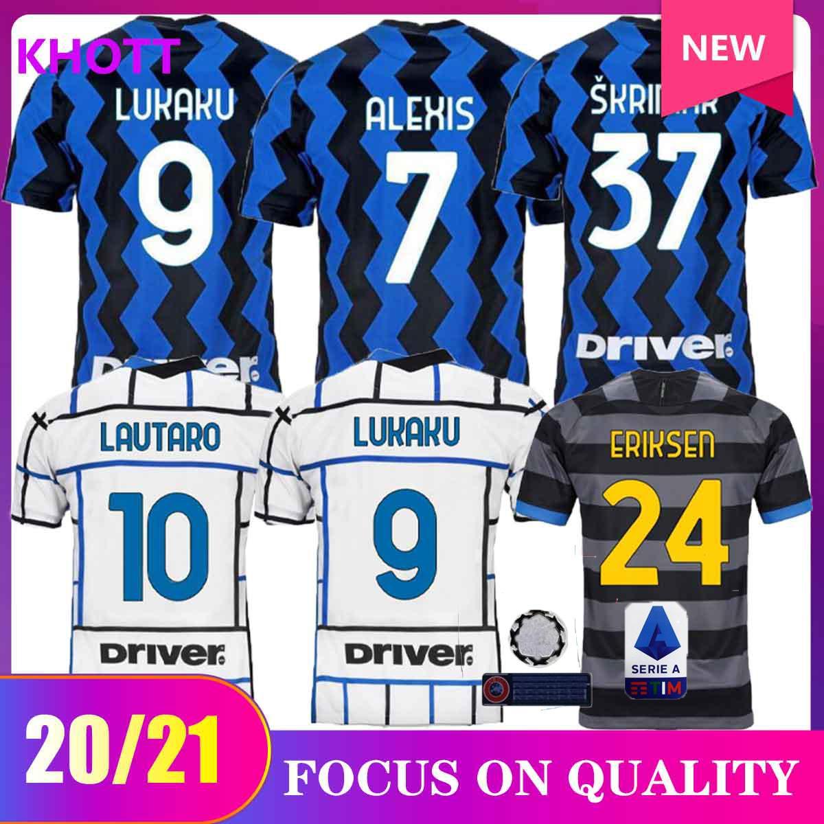 20 21 Lukaku Eriksen Lautaro Homex Away Soccer Jersey 2020 2021 Kit adulto Alexis Sensi Skriniar Brozovic Milano Camicia da calcio Set uniformi