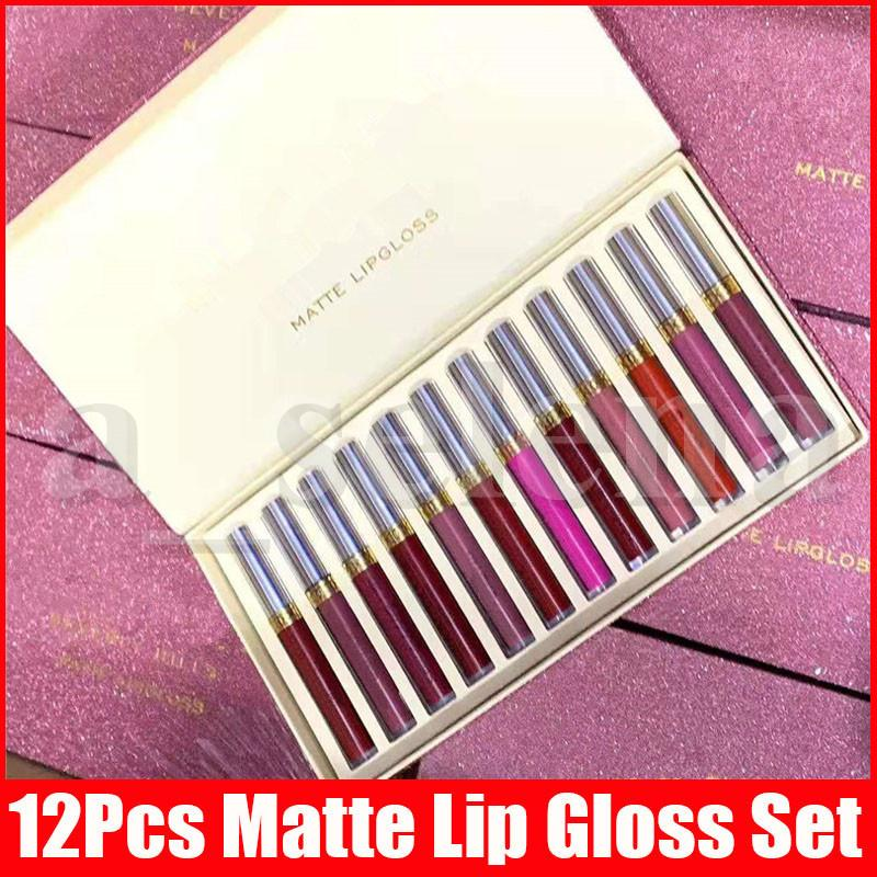 Nuevo maquillaje de labios Conjunto 12pcs Mate Liquid Lipstick 12 colores de un conjunto de lustroso brillo de labios brillo de labios labios Kit