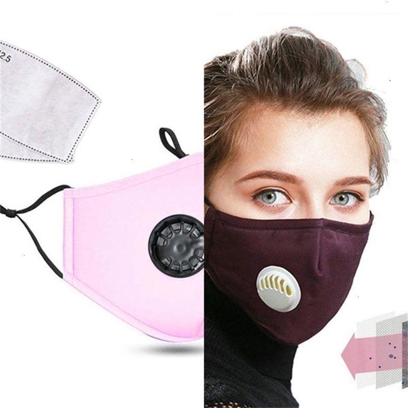 PM2.5 anti-polvo de algodón anti unisex Boca Aliento Contaminación Moda Válvula máscara de tela ActiVAT Rl9r