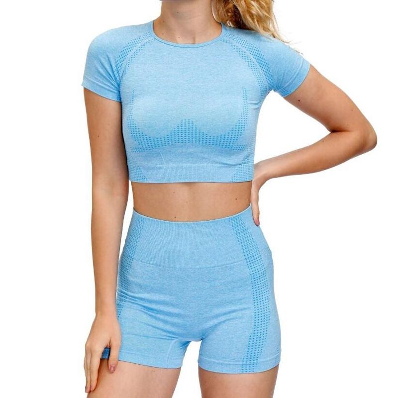 Новый 9 цветов Женщины Бесшовная Набор Фитнес Спортивные костюмы Gym Полотна Йога бюстгальтера высокой талией шорты для бега тренировки одежда