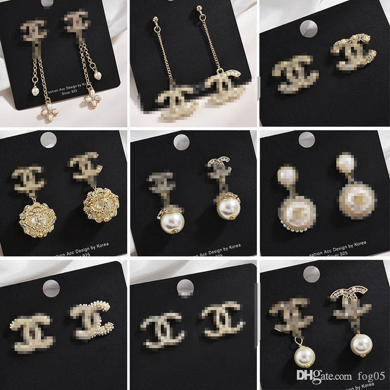 I nuovi modelli esplosione orecchini tendenza strass di lusso orecchini di colore moda personalità Super Flash diamante lettera E01