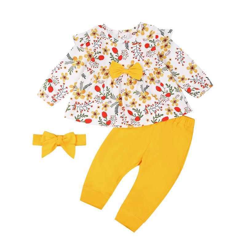 Niño Niña Ropa 2021 Floral de manga larga Arco volante Top Pantalones Diadema 3 PCS Outfits Ropa infantil