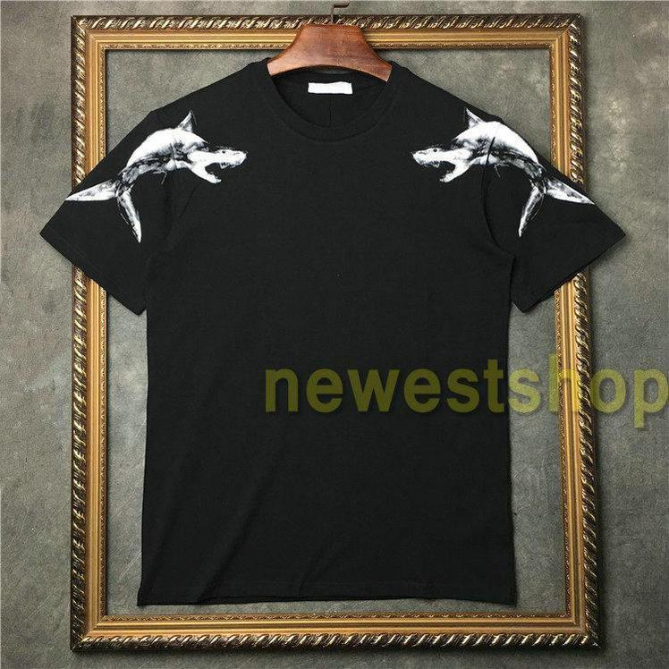 2021 Sommer Neue Kleidung Herren Shark Figure Muster Drucken T Shirts Mode Womens Kurze Ärmel T-shirt Designer T Shirts Casual Cotton T-Stück