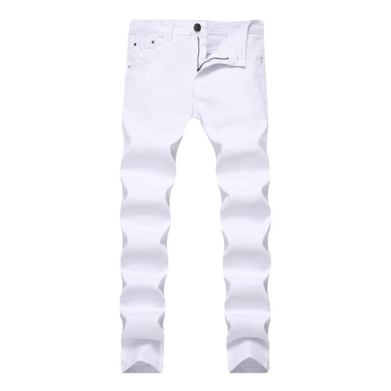 Männer Jeans Herren Stretch Skinny Slim Color Denim Chino Hosen Für Männer Beiläufige Schweißkleidung Khaki Schwarz Rot Weiß