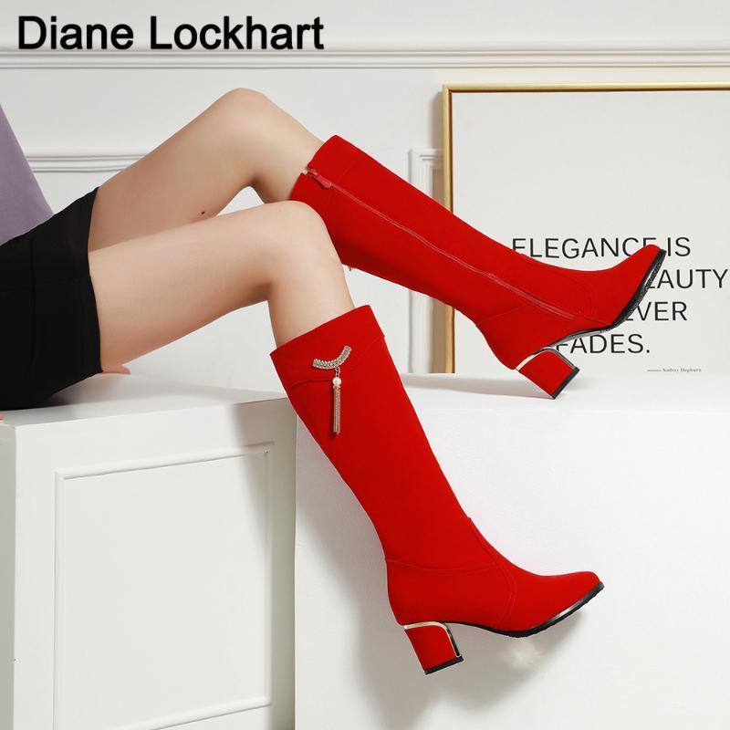 Элегантный колено высокие сапоги ботинки женщин Женщина Мода Высокие каблуки Winter Party кисточкой Boots Black Red Bottine Mujer Большой размер 32-43