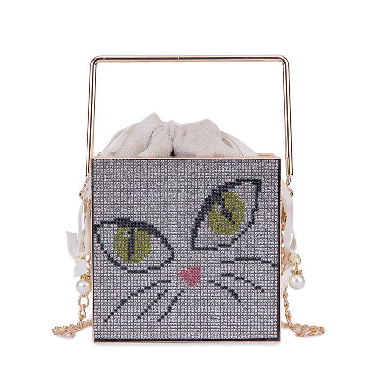 Nuove borse di lusso Diamond e Diamond Bag Bag Square Cat Piccolo Crossbody Maniglia in metallo 2021 Borse Sera Cartoon Designer THQMMM