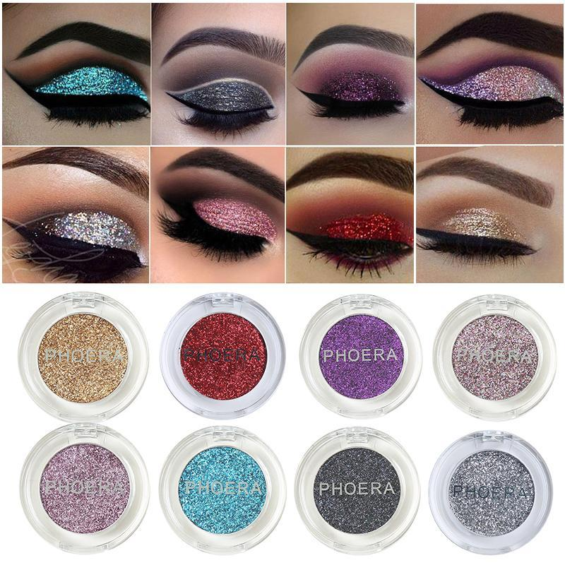 Maquillaje del brillo sombra de ojos Paleta de sombra de ojos del reflejo metálico de ojos cosmética Maquillajes la gama de colores