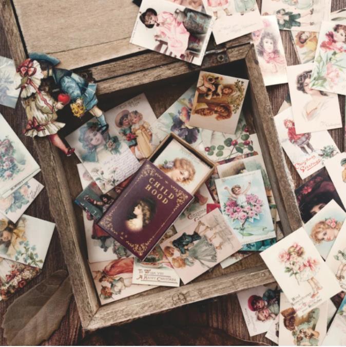 100 قطعة / صندوق خمر أوروبا ختم مصغرة بطاقة رسالة مهرجان بطاقات المعايدة الاطفال هدية اللوازم المدرسية