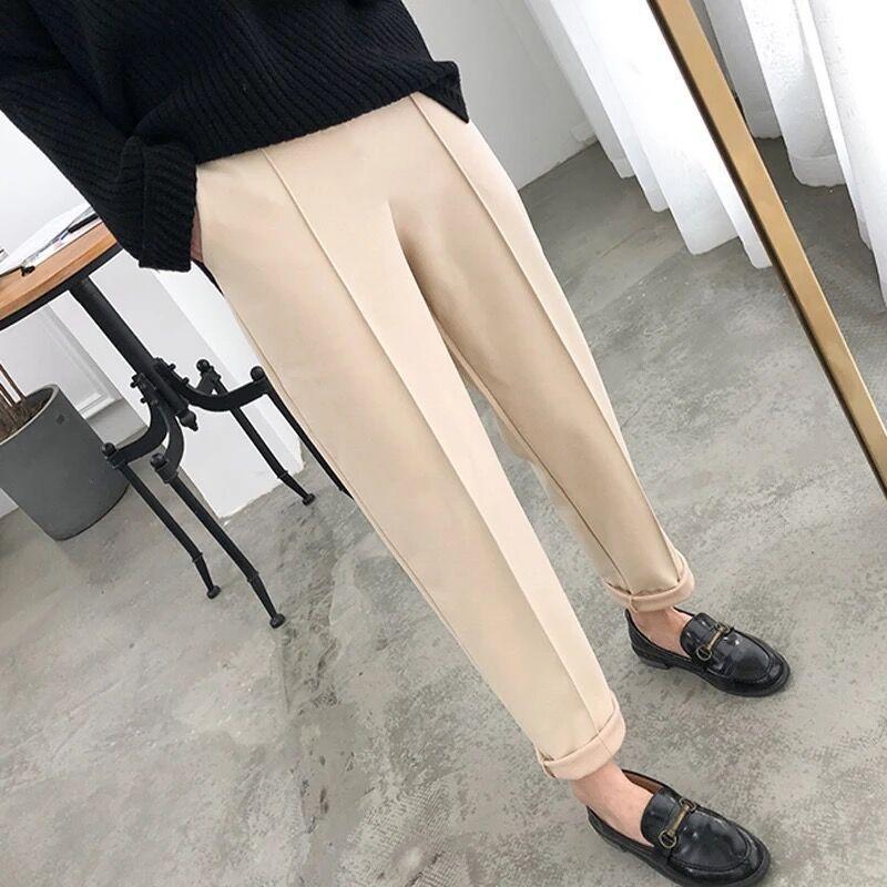 2020 estilo coreano branco-creme Outono Inverno Lã calças para mulheres Pockets cintura alta Harem calças quentes Casual Femme Pantalon