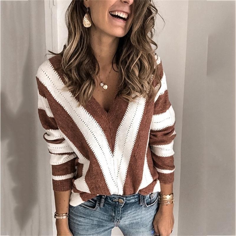 Maglione a strisce da donna con scollo a V maglia maglione maglione maglione maglione maglione donne maglioni e pullover streetwear a strisce LJ201017