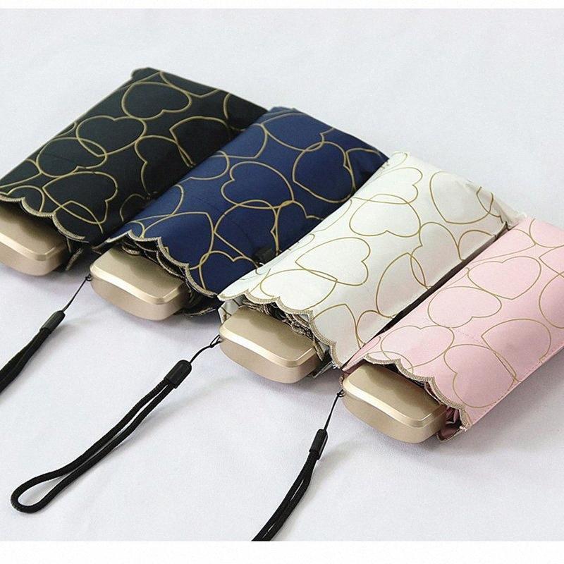 Liebes-Herz-Anti-UV-Taschen-Mini Regenschirm-Regen Frauen windundurchlässiges Durable 5 Folding Sonnenschirme beweglicher Sonnenschutz Weiblicher Sonnenschirm SXOi #
