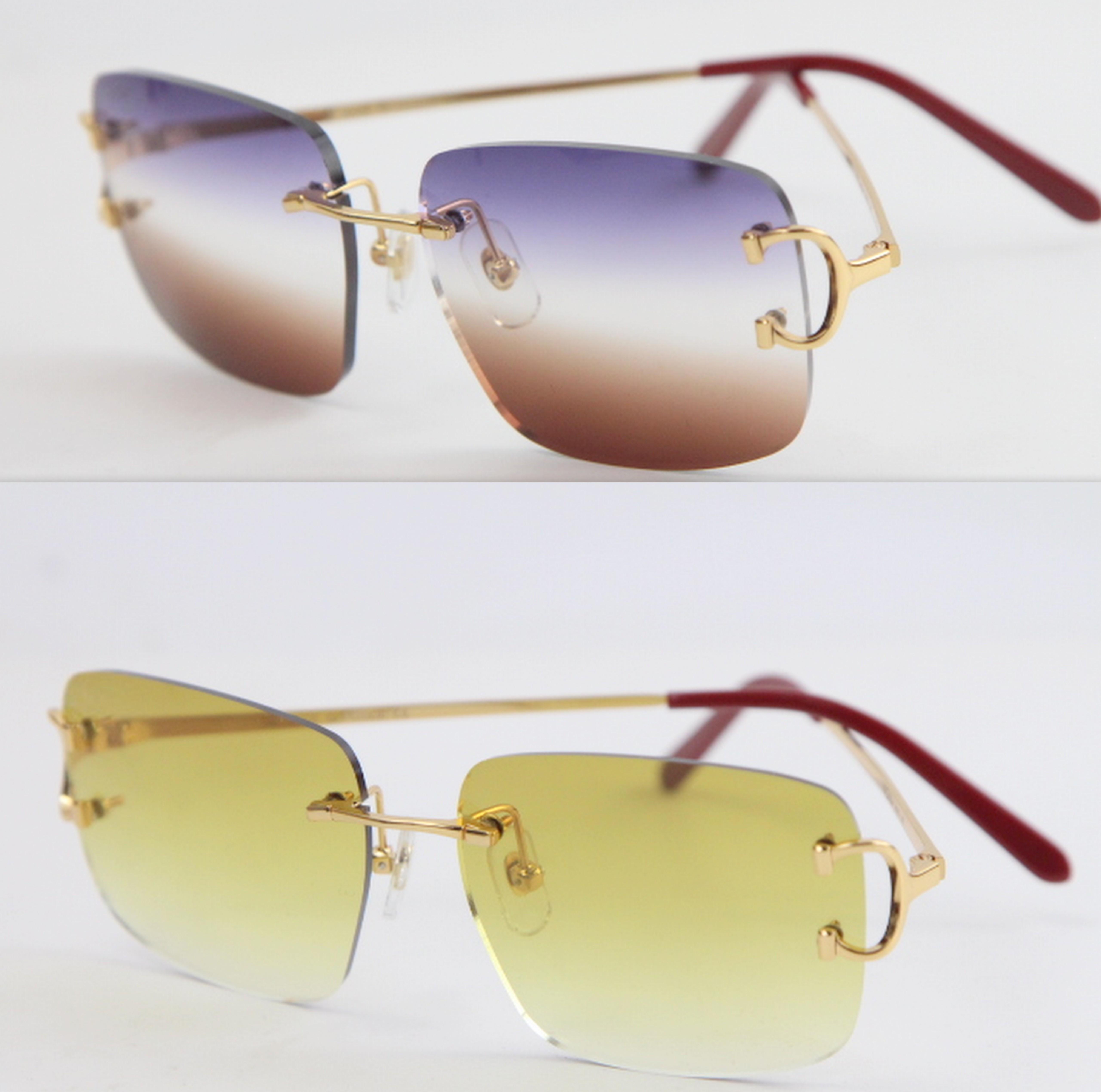 2020 شعبية نمط جديد نظارات شمسية بدون شفة الساخنة T8200816 حساسة للجنسين الأزياء نظارات معدنية الشمس نظارات القيادة jllkco bde_jewelry