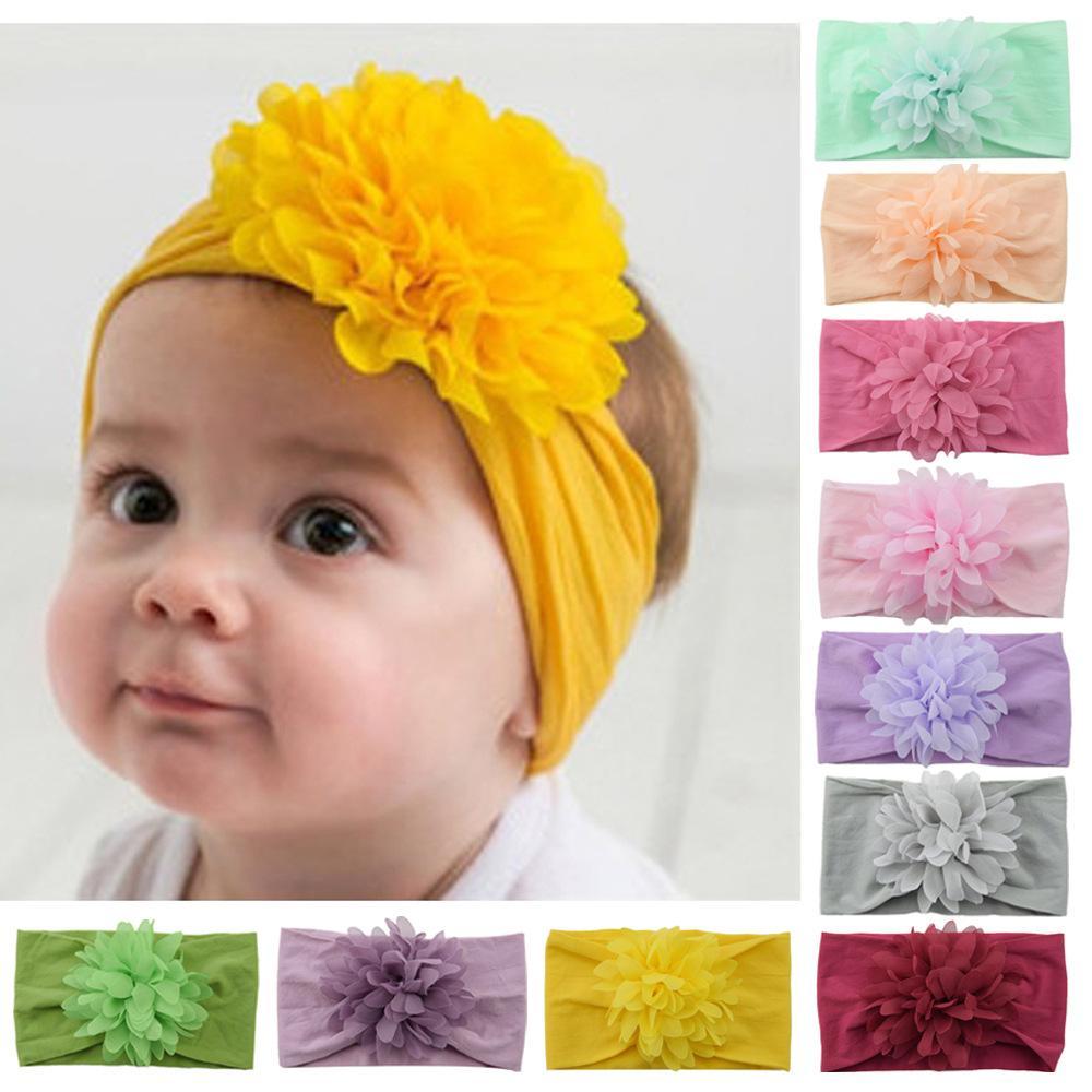 Free DHL 32 Colors INS Baby Girls Big Bow Headbands Cute Chiffon Flower Bowknot Hairbands Headwear Kids Headdress Newborn Turban Head Wraps