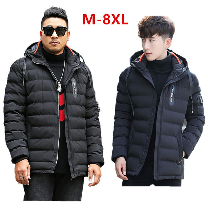 Men Winter Jacket Black Dark Blue Men's Clothing Thick Hooded Coat Big Plus Size 5XL 6XL 7XL 8XL Outdoor Mens Hoodie Male Parkas 201028