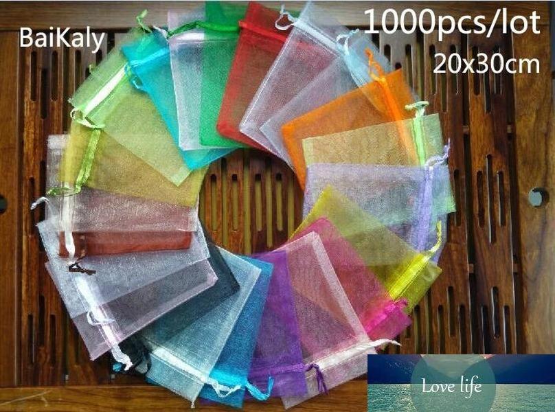 1000 stücke Organza Bag 20x30cm Kordelzug Beutel Hochzeit / Geburtstagsfeier / Weihnachten Geschenk Tasche für Schmuck Verpackung Taschen Aufbewahrungstasche