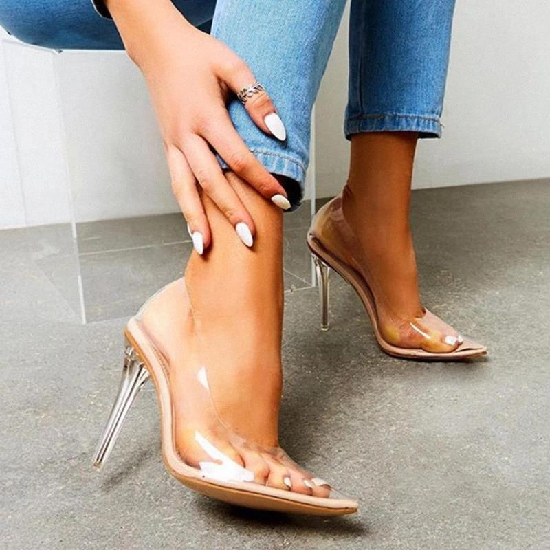 Sandales transparentes pour femmes 2020 Nouveau Sexy PVC 12.5cm Mince High High Heel Point Toite Dames Chaussures Slip sur les pompes d'été féminines # Or8c