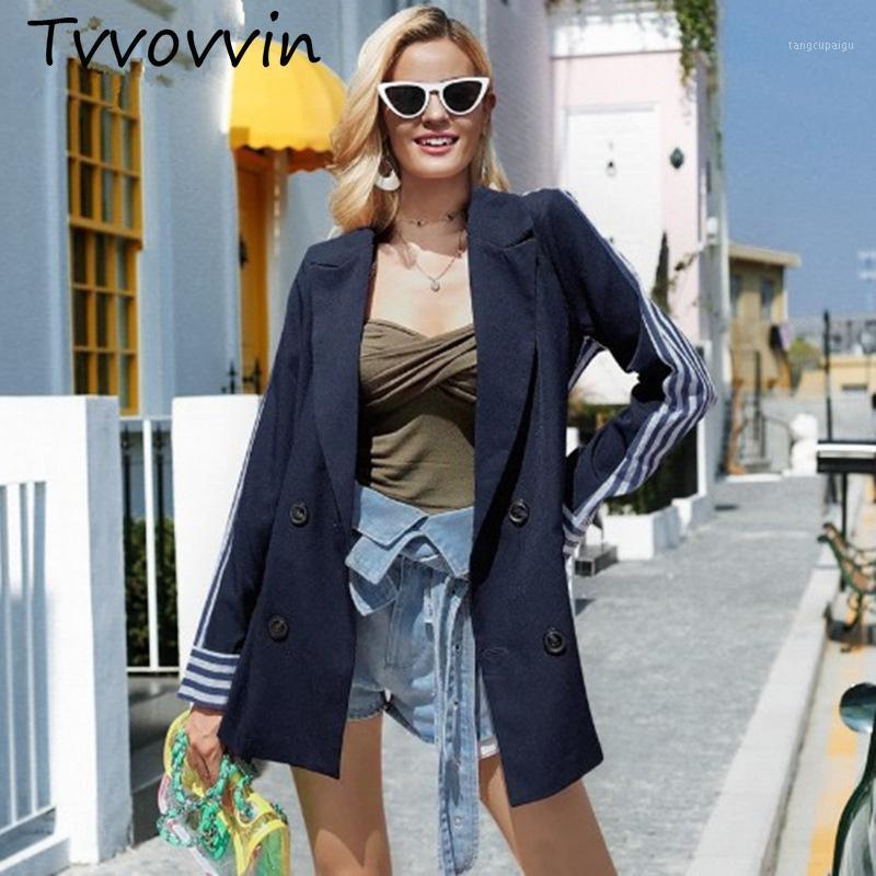 2019 outono novo listrado moda ocasional uma peça deitada terno double-breasted solto casaco fino moda mulheres c3461