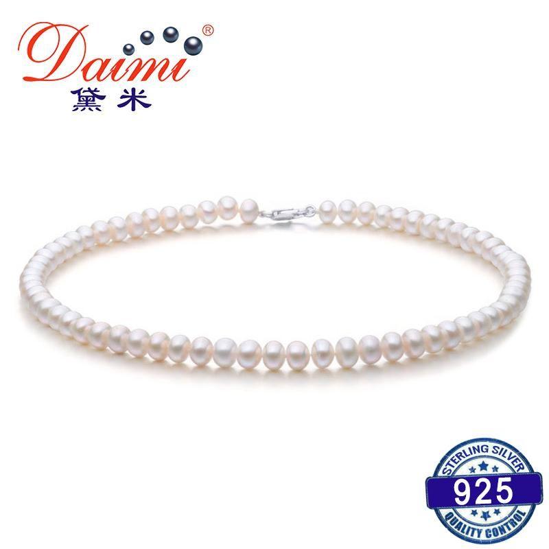 DMRU009 6-7мм Природные пресной воды Жемчужное ожерелье серебро 925 ожерелье ювелирных изделий для женщин