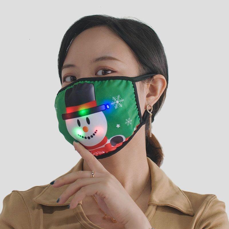 Weihnachtsbeleuchtung Gesichtsmaske LED Santa Schneemann Baum Druck Glühende Maske Weihnachtsfeier Gesichtsmasken 11stil h
