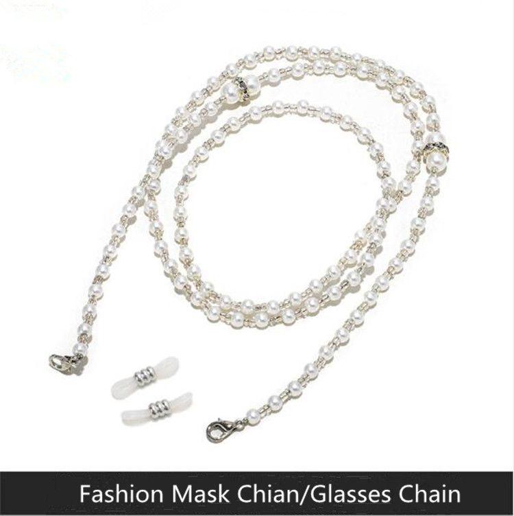 Handgefertigte weiße künstliche Pearl-Maske-Kette Lanyard / Brille-Kette mit Hummer-Schließer Vintage-Halter Frauen Halskette Anti-Wurf-Hals-Seil