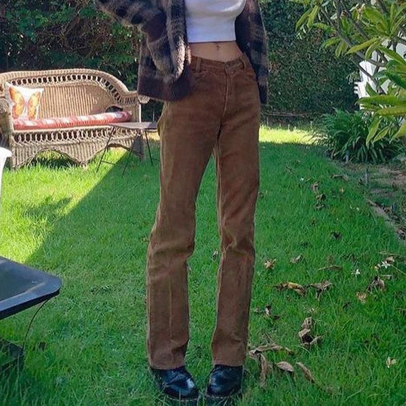 MONMOIRA 2020 Corduroy Sólido Y2K Pantalones para mujer Casual Vintage Otoño Mid Cintura Pantalones Ladies Streetwear Pantalones CWP0153-5