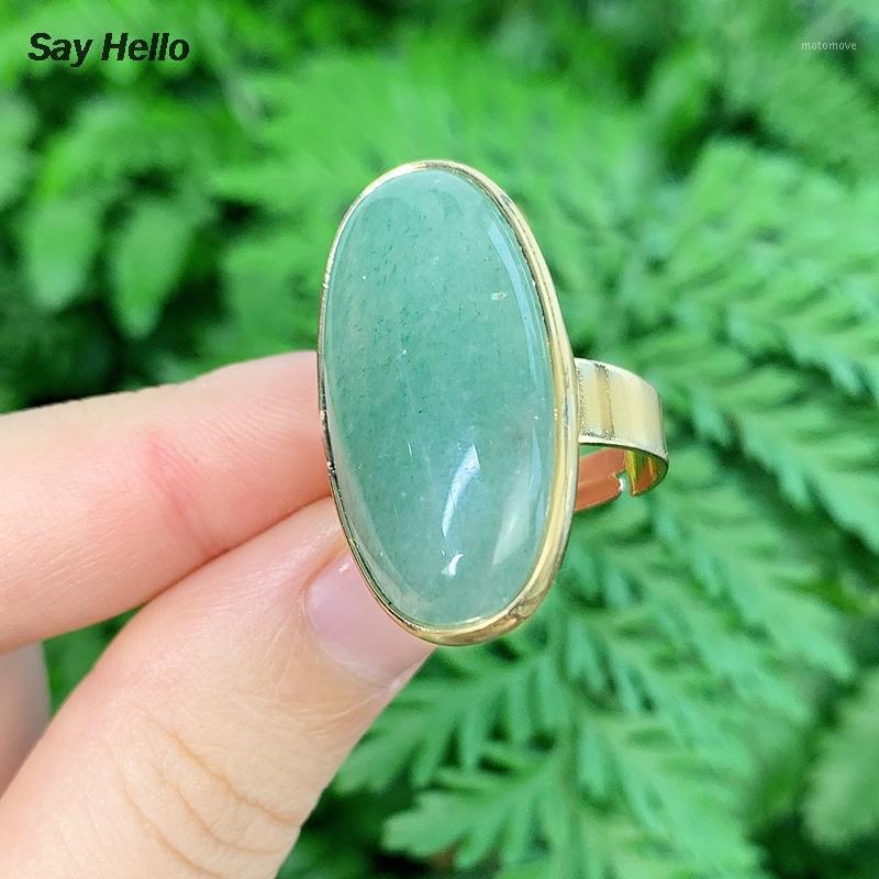 حلقات العنقودية تقول مرحبا الحجارة الطبيعية البيضاوي الأخضر أفينتورين الجمشات الفيروزية اللازورد لاجوليس للنساء إصبع الكفة ringe k57821